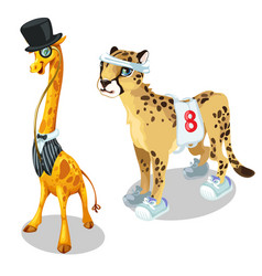 Giraffe in suit and leopard in sports uniform vector