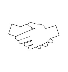 Handshake friendship partnership stroke icon vector