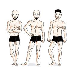 Handsome men group standing in black underwear vector