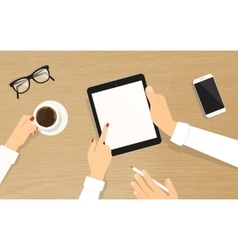 Human hands hold a tablet pc with empty display vector image vector image