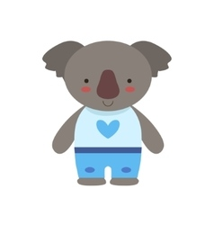 Koala in white top with heart print and blue pants vector