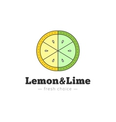 Lemon and lime logo in trendy line style vector