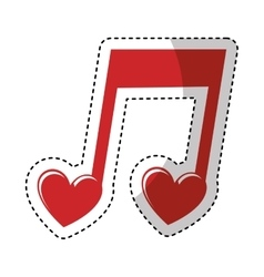 music note with heart vector image