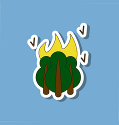 Paper sticker on stylish background fire in the vector