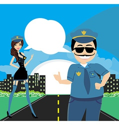 policewoman and a policeman on duty vector image