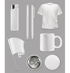 Promotional items set mockup vector image vector image