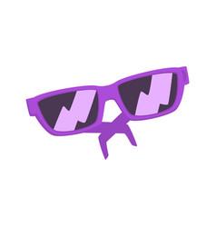 purple sunglasses cartoon vector image