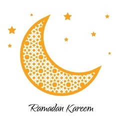 Ramadan Kareem moon with muslim ornament greeting vector image