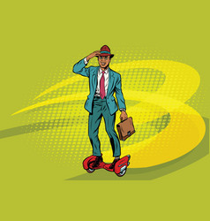 Retro businessman on steampunk rocket skateboard vector