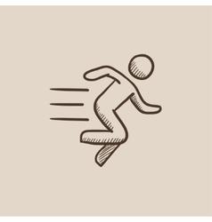 Running man sketch icon vector