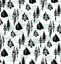 Seamless winter trees pattern vector image vector image
