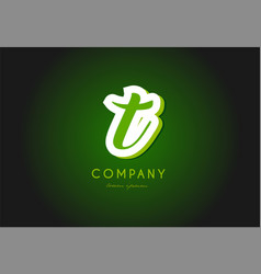 T alphabet letter logo green 3d company icon vector