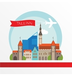 Tallin Estonia detailed silhouette vector image