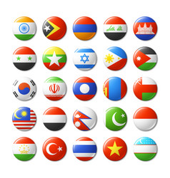 world flags round badges magnets asia vector image vector image