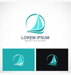 yacht sail boat logo vector image vector image