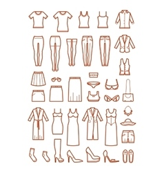 Womens clothing female fashion line icons vector image