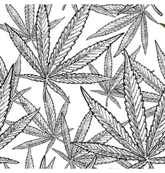 Seamless pattern with marijuana leaf vintage vector