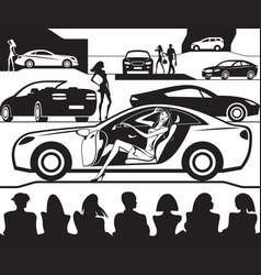 Fashion model presents new car at auto show vector