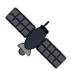 drawing satellite telecommunication transmitter vector image