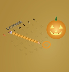 An October calendar showing the 31st prominently vector image