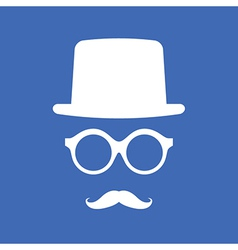 Hat eyeglasses and mustache white graphic on blue vector