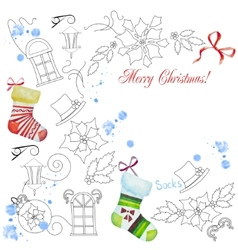 Background with christmas things-04 vector