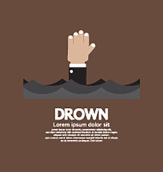 Drowning man showing his hand over the water vector