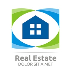 Real estate shape home construction company vector