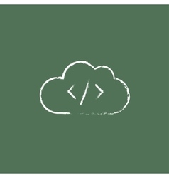 Transferring files cloud apps icon drawn in chalk vector