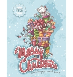 Merry christmas greeting card with gifts vector