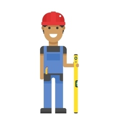 Worker in hard hat measure with yellow ruler blue vector