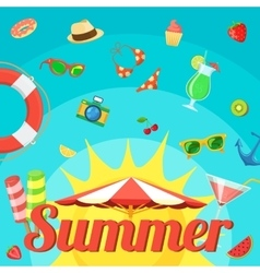 Summer holidays things on bright backdrop vector
