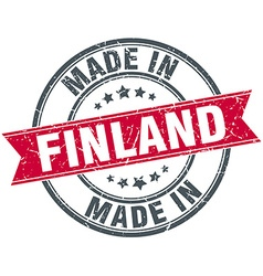 Made in finland red round vintage stamp vector