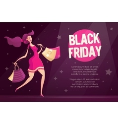 Black friday flyer template with happy female vector