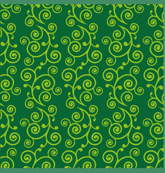 Abstract green doodle curve seamless pattern vector