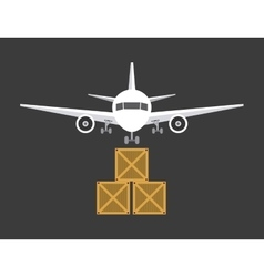 Airplane and package icon delivery and shipping vector