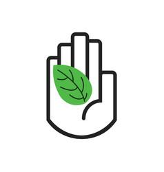 Black line hand symbol holding green leaf sign vector