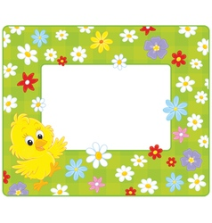 Border with a chick vector image vector image
