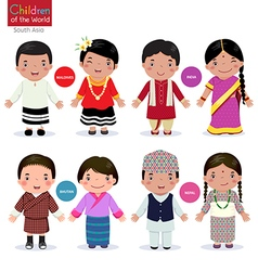 Children of the world Maldives India Bhutan Nepal vector image vector image