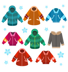 colorful winter jackets set vector image