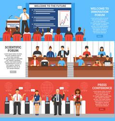 conference presentation banner set vector image vector image