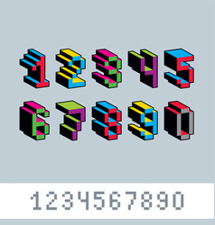 Cybernetic 3d numbers pixel art numeration pixel vector