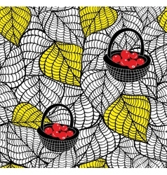 Endless doodle background with autumn leaves and vector