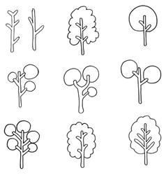 Flat of tree set doodles vector