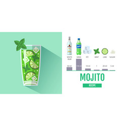 Flat style cocktail mojito menu design vector