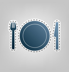 Fork plate and knife blue icon with vector