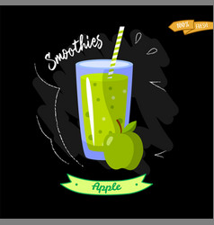 Glass of smoothies on black background apple vector