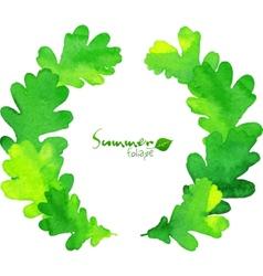 Green watercolor oak leaves wreath vector