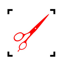 Hair cutting scissors sign red icon vector