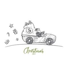Hand drawn Santa Claus driving car with presents vector image